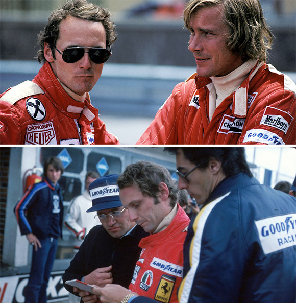 Top: Lauda & Hunt  Bottom: Lauda with his Ferrari manager (in blue jacket)