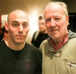 Joshua with one of The Act of Killing's producers Werner Herzog