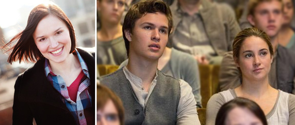 Author Veronica Roth & Ansel Elgort w/ Shailene Woodley in a still from DIVERGENT