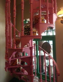 Pink staircase inside a candy shop