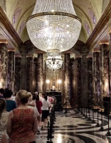 Gringotts Bank's grand marble lobby w/ lifelike goblins