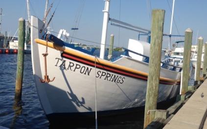 The cute harbor of Tarpon Springs