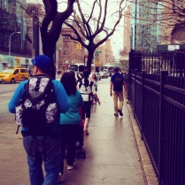My family strolling down towards SOHO for a lil' shopping on Christmas Eve