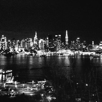 Nighttime view of Manhattan skyline