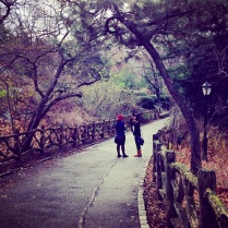 Two friends spending Christmas Day in Central Park