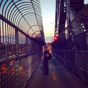 We climbed the Jacques Cartier bridge on foot to capture sunset!