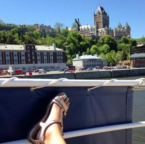 Resting my weary feet above Louis Joliette cruise boat