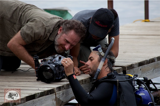 It's me, Cinematographer Radium Cheung, and Underwater Camera Operator Steve Speers (who is a Minnesota cameraperson). – Photo by Andrew Messer