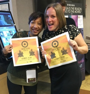 Aleshia and I promoting TCFF schedules