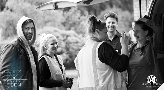 Peter Hansen, Ashlee Jensen, Paul O'Brien, Emily Fradenburgh prepare to step onto set on Day 1 – Source: Project Eden FB